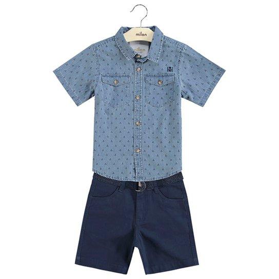 d9969893526ca Conjunto Infantil Milon Camisa Jeans e Bermuda Sarja Masculino - Azul