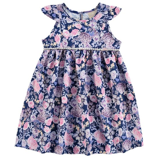 5dc8a13b44 Vestido Infantil Milon Estampado Floral Feminino - Azul - Compre ...
