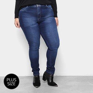 6791be74f Calça Jeans Plus Size Razon Skinny com Cinto Onça Feminina