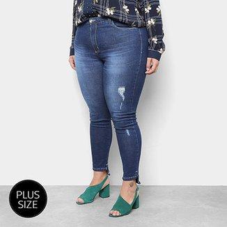 bbfe7d6ee Calça Jeans Plus Size Razon Skinny Barra Mullet Puídos Feminina