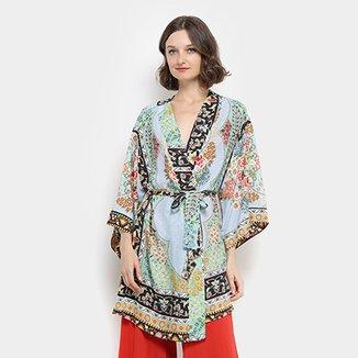 31294ee881 Kimono Amaro Manga Longa Estampado · Confira · Kimono Farm Tepih Feminino
