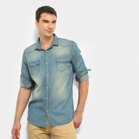 696c091ff069 Camisa Jeans Manga Longa Watkins & Krown Estonada Masculina - Azul ...