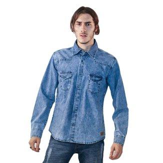 f0dcd9e7a Camisa Jeans Malhas Carlan Básica Masculina