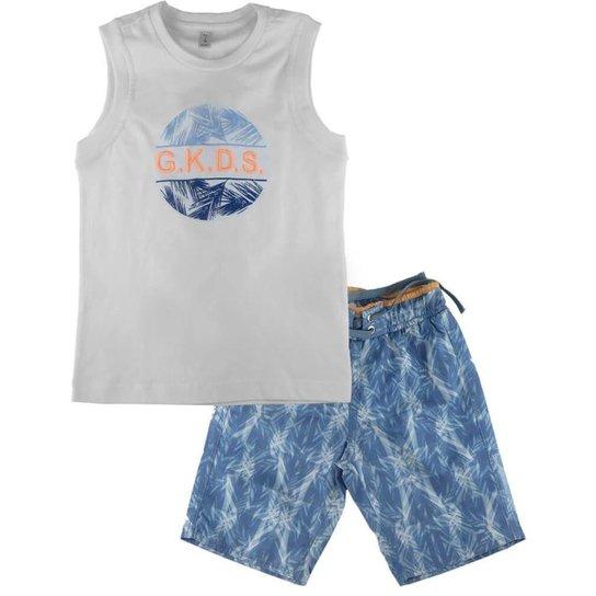 Conjunto Gira Bebê Regata + Bermuda Folhas Masculino - Azul - Compre ... 43f7e22da8e88