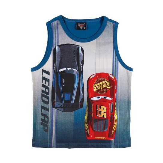 Camiseta Regata Infantil Disney Carros Masculina - Azul - Compre ... 99636c7b91815