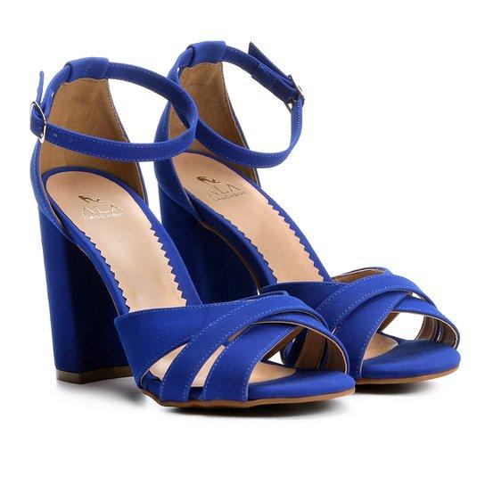 1027c637b Sandália Ala Salto Grosso Multi Tiras Feminina - Azul | Zattini