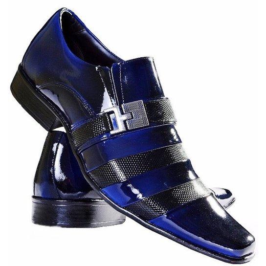 7c60c59111 Sapato Social Gofer Estilo Italiano Em Couro Legítimo Masculino - Azul