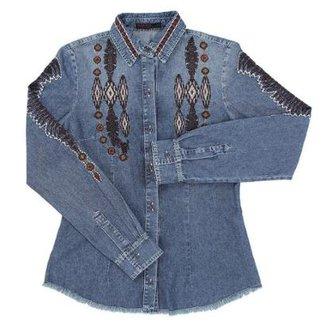 eaea8d529e Camisa Jeans Feminina Tassa Gold Bordada