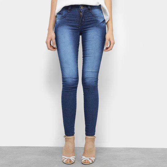 46fde4c1a Calça Jeans Skinny Chocomenta Estonada Cintura Baixa Feminina - Azul