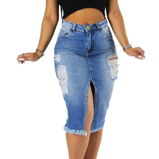 cff36dd4e Saia Sol Jeans Midi Rasgada Com Lycra Abertura Frontal Feminina - Azul