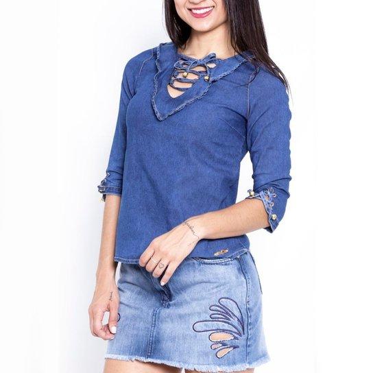 1931536bcd Blusa Jeans Feminina Sol Jeans Manga 3x4 Moda 628 - Azul