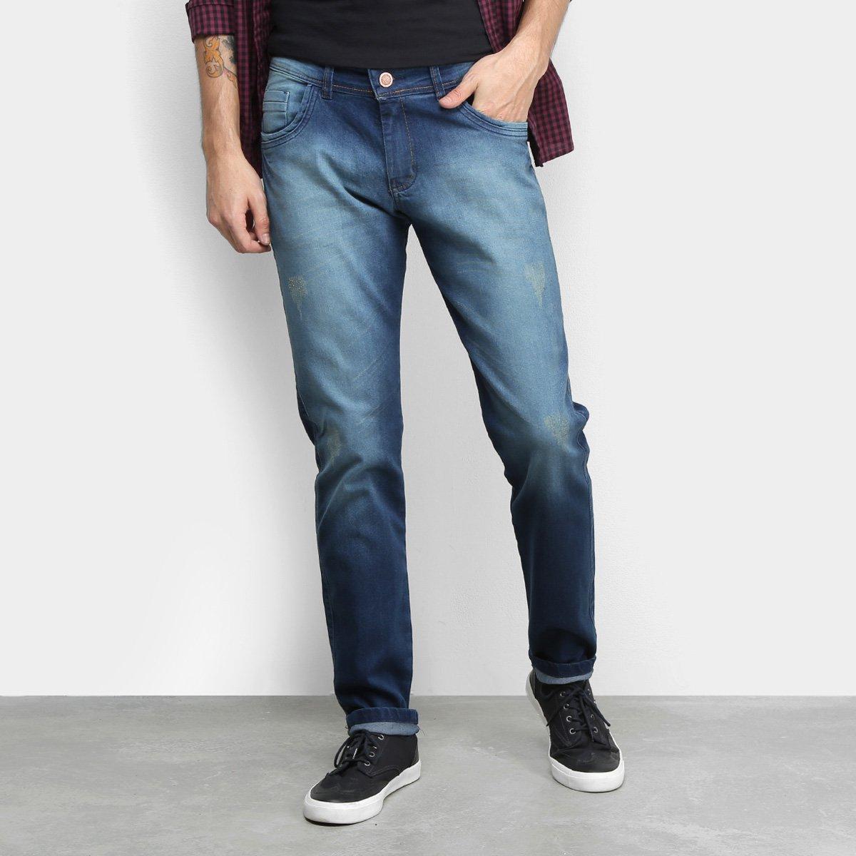Calça Jeans Grifle Estonada Puídos Masculina