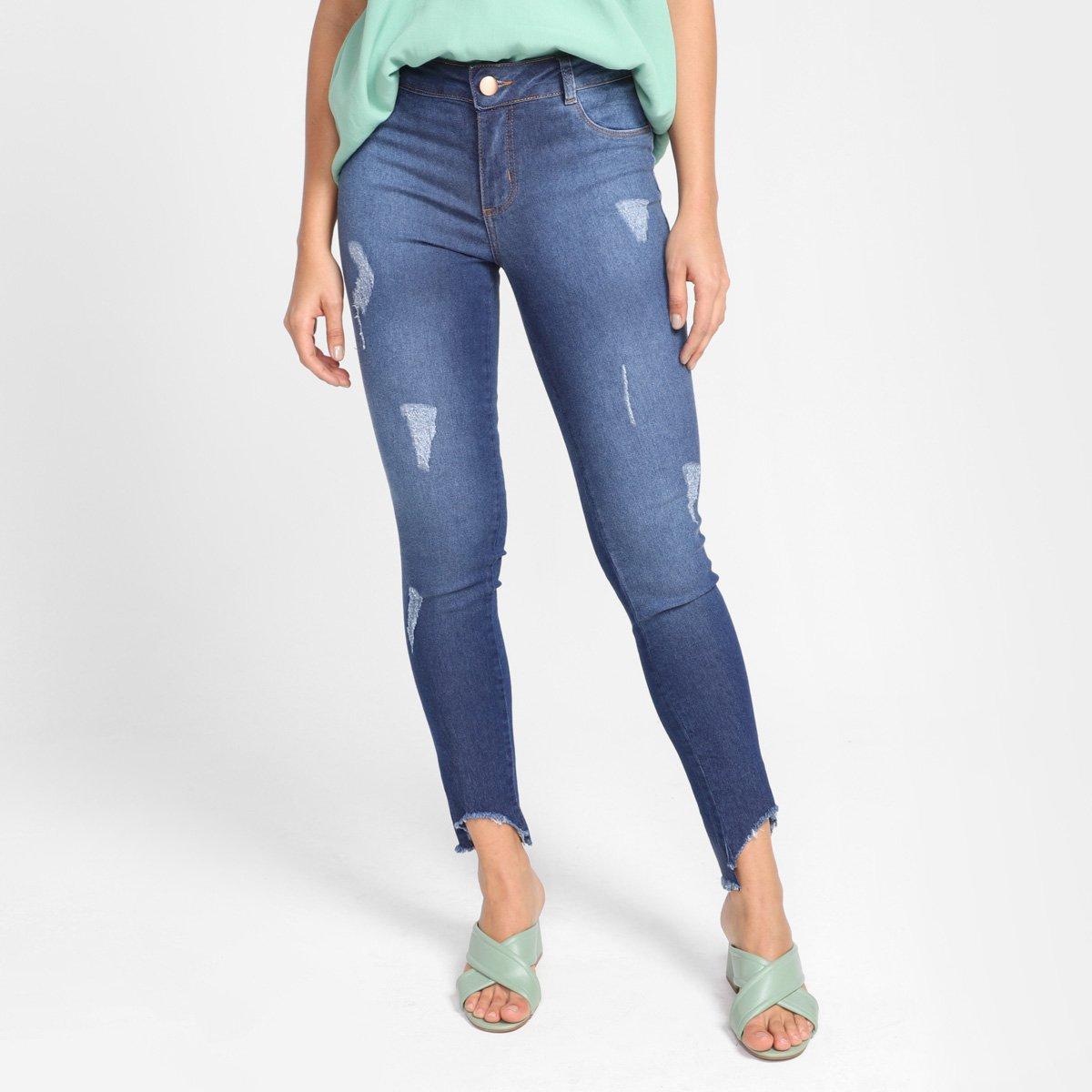 Calça Jeans Skinny Grifle Assimétrica Cintura Média Feminina