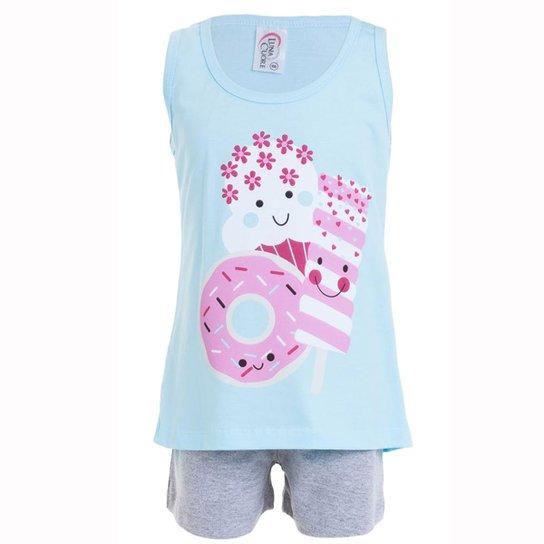 2653d8495da575 Pijama Infantil de Verão Short Doll Luna Cuore Feminino - Azul