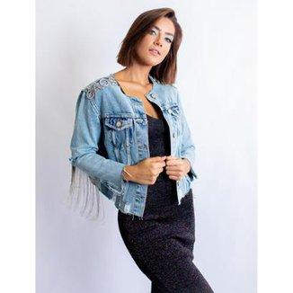 c8ed63684 Jaqueta Jeans Caos Gola C/ Rasgos Bordado Feminina