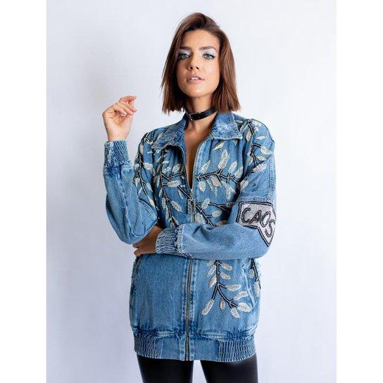 1db900ff8 Jaqueta Jeans Caos Bomber Jeans Bordado Folhas Feminina - Azul ...