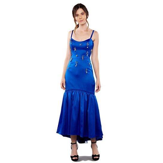baa4b9b576 Vestido Maxi Izadora Lima Brand Midi em Cetim Bordados em Chatons Feminino  - Azul