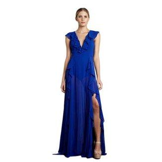 2fc503ce8 Vestido Longo Izadora Lima Brand em Musseline Costas Abertas Feminino