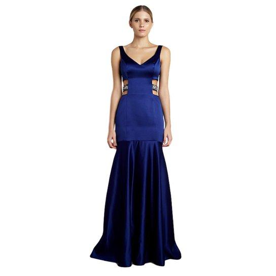 1898be0d27 Vestido Longo Izadora Lima Brand em Cetim com Decote V Feminino - Azul
