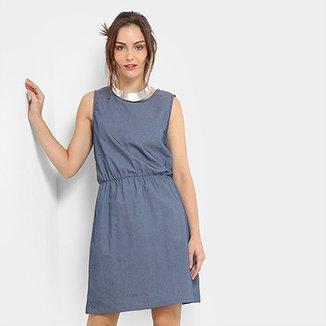e56835c24 Vestido Jeans Flora Zuu Regata Feminino