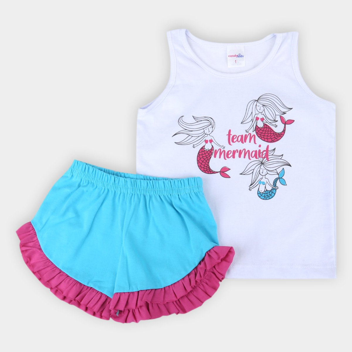 Pijama Infantil Candy Kids Regata Curto Sereias Feminino