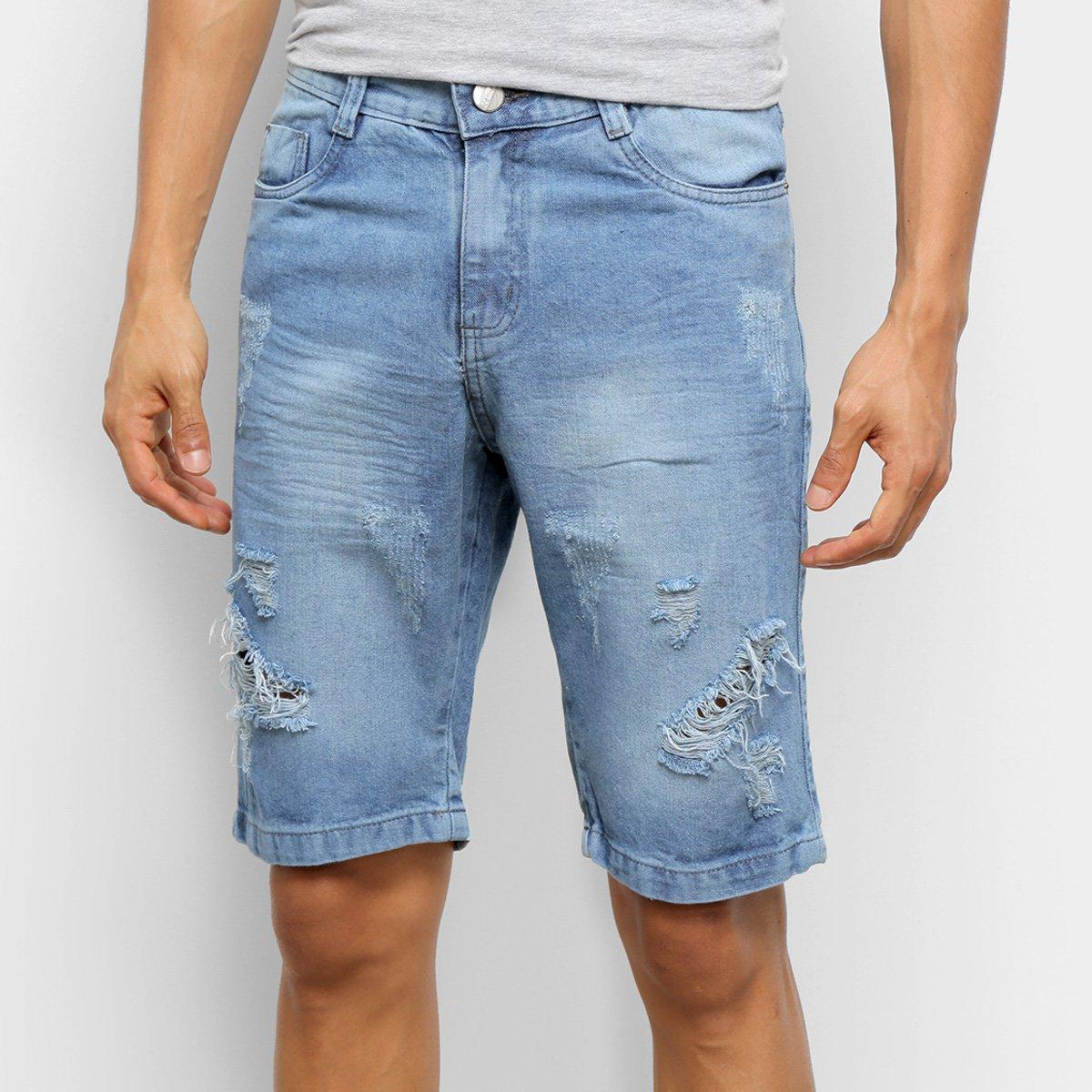 Bermuda Jeans Ecxo Puídos Masculina