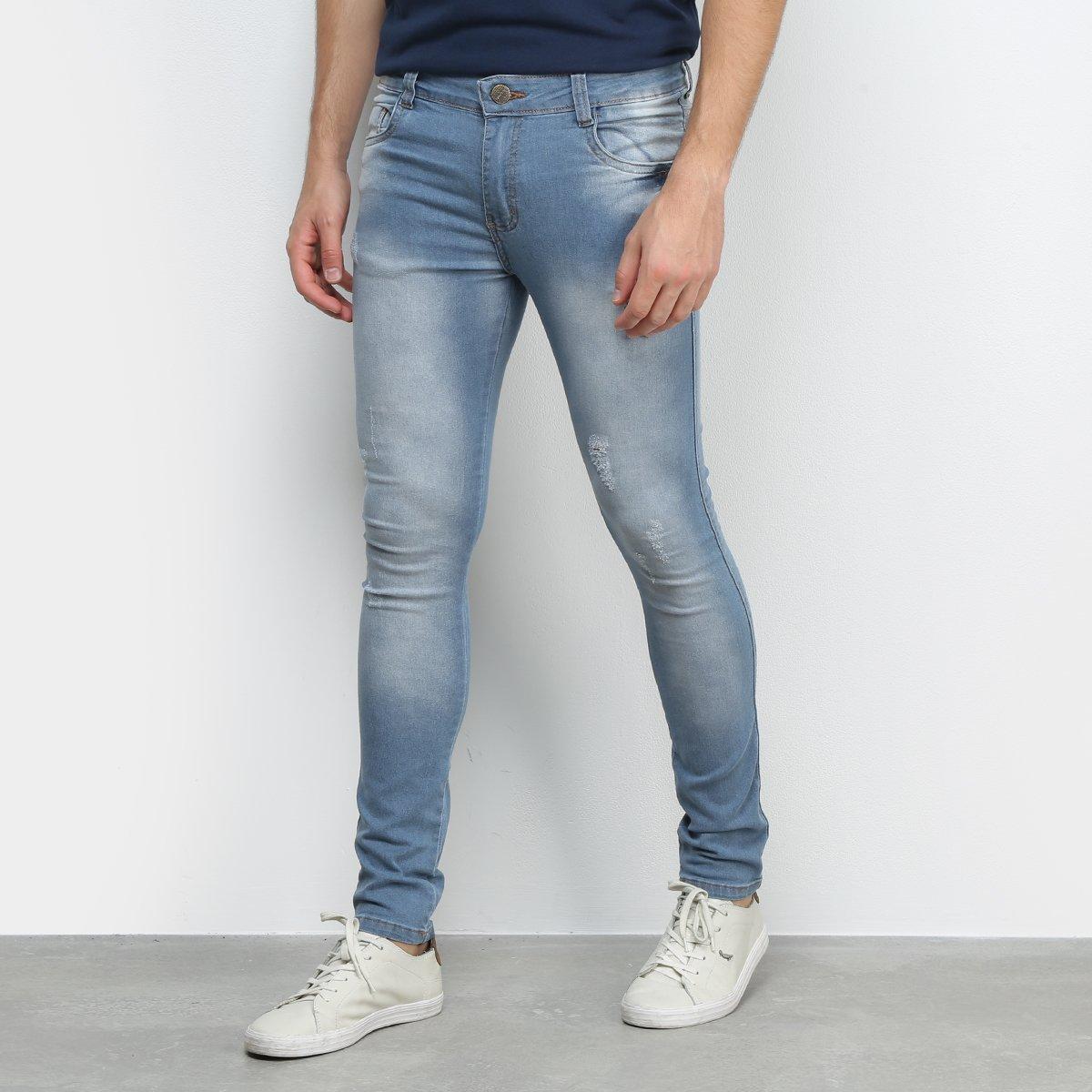 Calça Jeans Ecxo Estonada Skinny Masculina