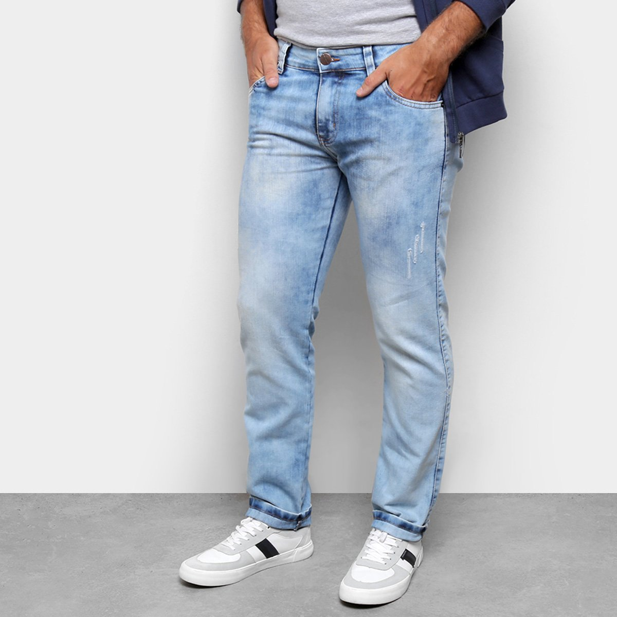 Calça Jeans Ecxo Skinny Marmorizada Masculina