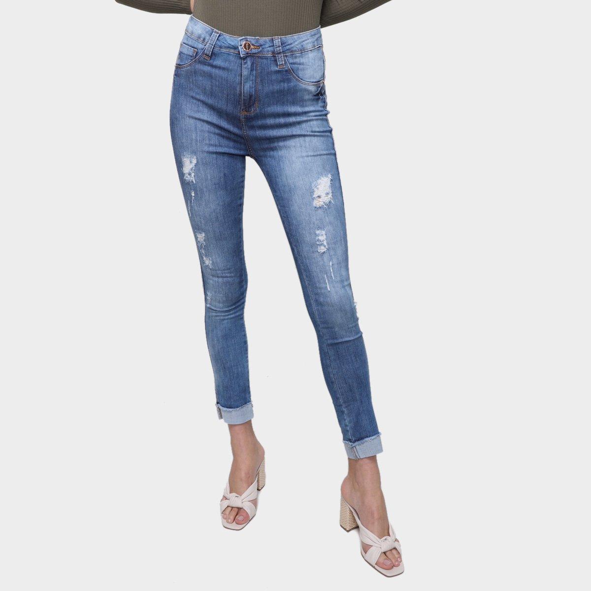 Calça Jeans Skinny Exco BSC TM6 B28 Cintura Alta Feminina