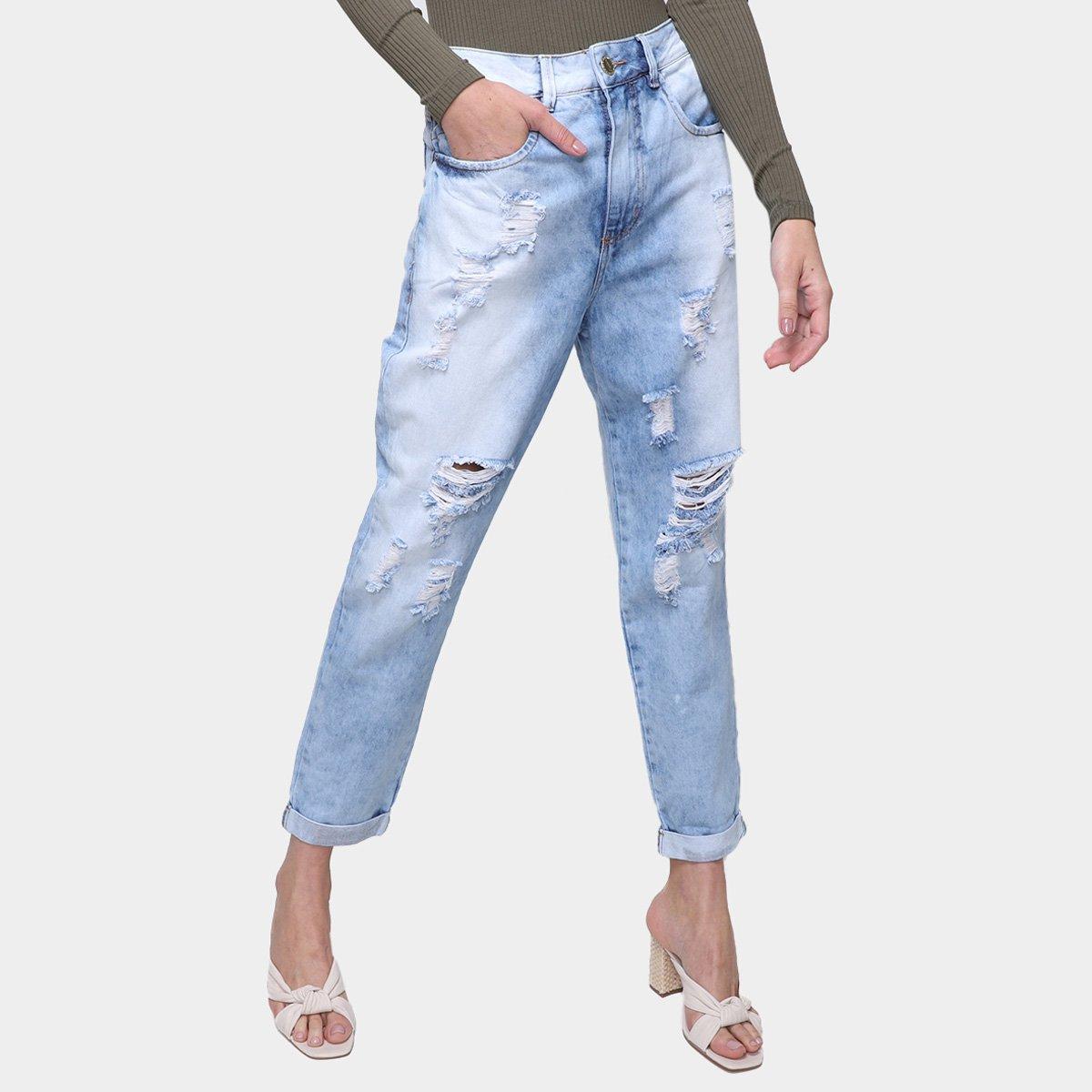 Calça Jeans Ecxo Mom Jeans Destroyed Feminina