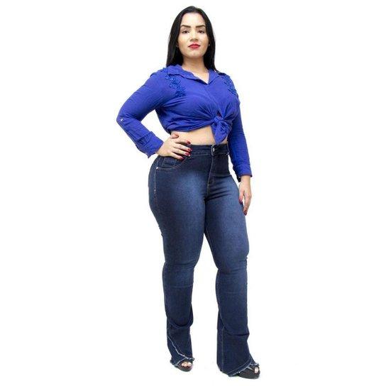 649409279 Calça Jeans Plus Size Credencial Flare Aldaiza Feminina - Azul. Loading.