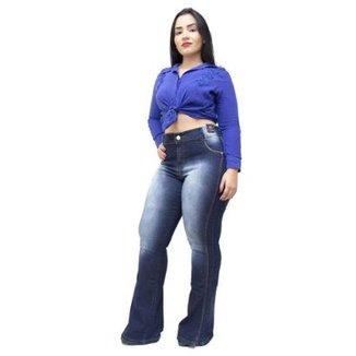 a2286cfd3 Calça Jeans Credencial Plus Size Flare Lucivalnia Feminina