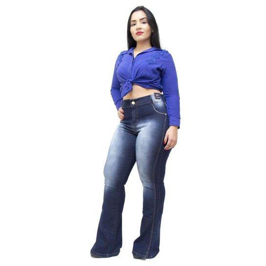 efa0626f6 Calça Jeans Credencial Plus Size Flare Lucivalnia Feminina - Azul ...