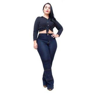 af756b59a Calça Jeans Credencial Plus Size Flare Gauri Feminina
