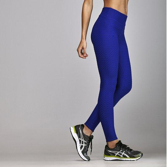 Calça Legging Textura Fitness Body Show Cós Anatômico - Azul ... 59ccde377ba