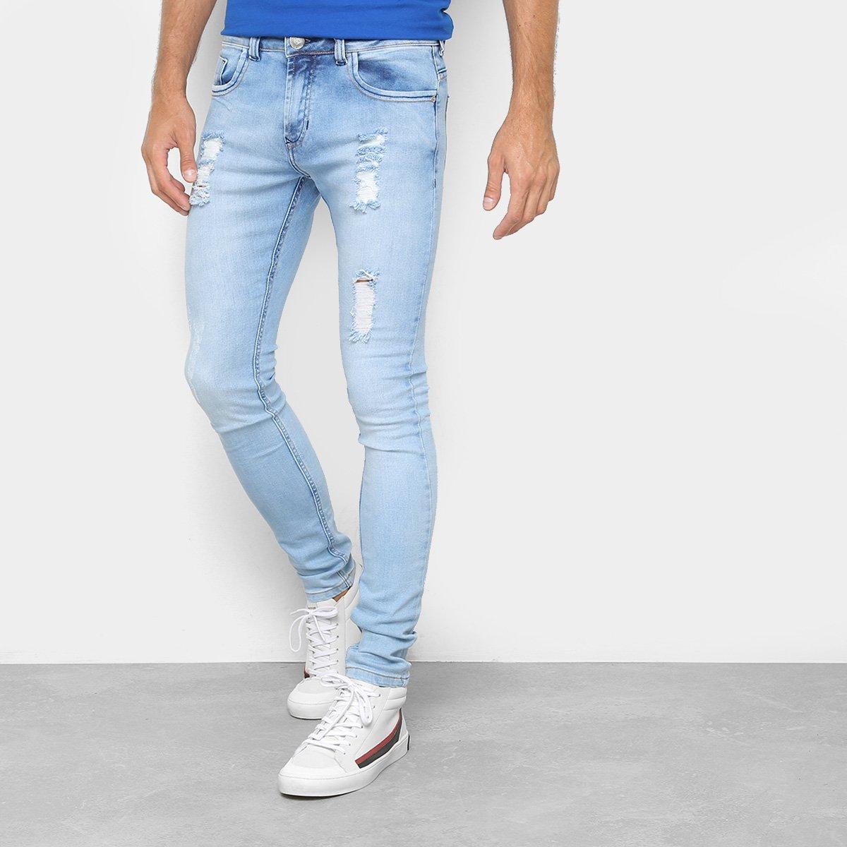6b7a650eb Calça Jeans Skinny Preston Destroyed Delave Masculina