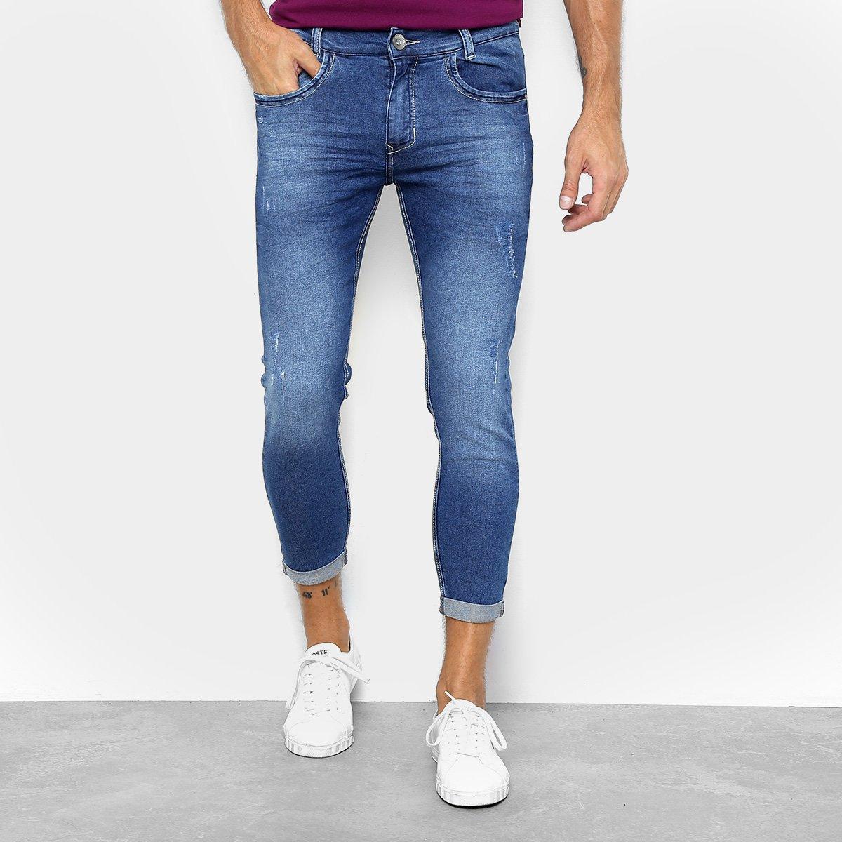 c993d9b02 Calça Jeans Cropped Preston Barra Dobrada Masculina