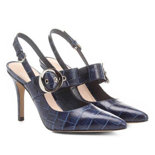18b822d208 Scarpin Couro Shoestock Salto Alto Croco Fivela - Compre Agora