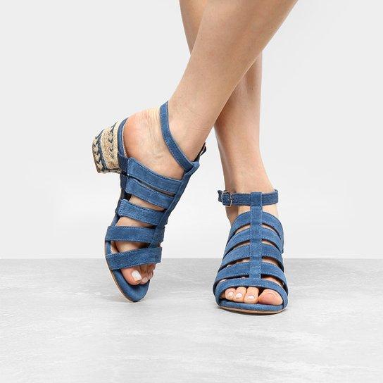bd5daf18c0 Sandália Couro Shoestock Salto Grosso Multi Tiras Feminina | Zattini