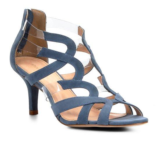 919e089275 Sandália Shoestock Salto Médio Ondas Couro Com Vinyl - Compre Agora ...