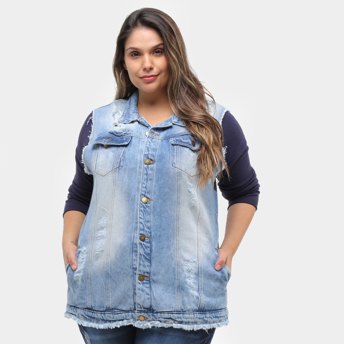 Colete Jeans Xtra Charmy Max Plus Size Feminino