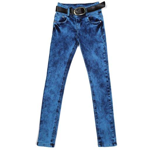 ef9488d22 Calça Jeans Juvenil Para Menina com Cinto Azul marinho | Zattini