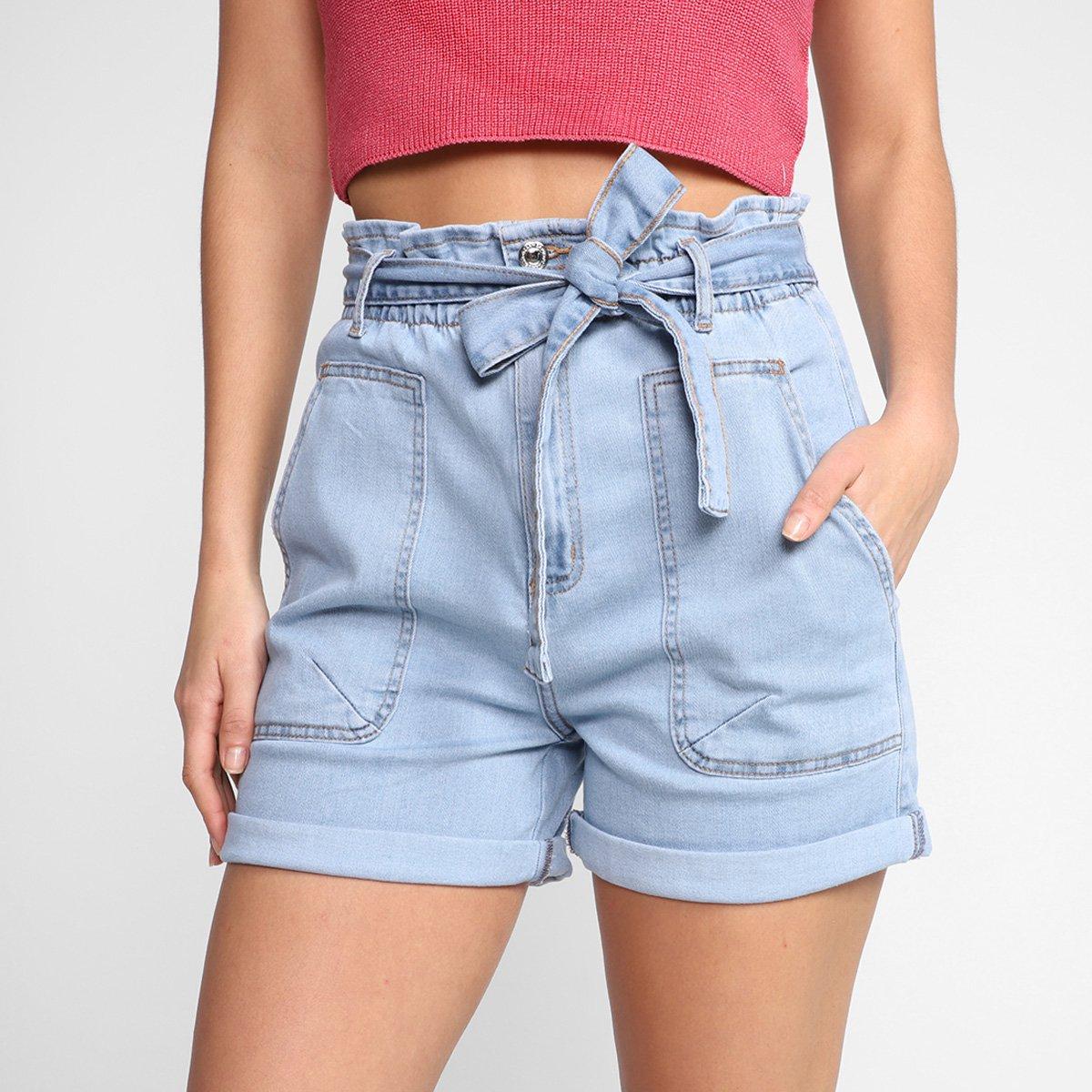 Short Jeans Dzarm Amarração Cintura Alta Feminino