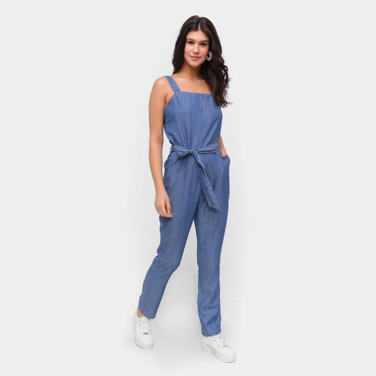 Macacão Jeans Influencer Longo Amarração