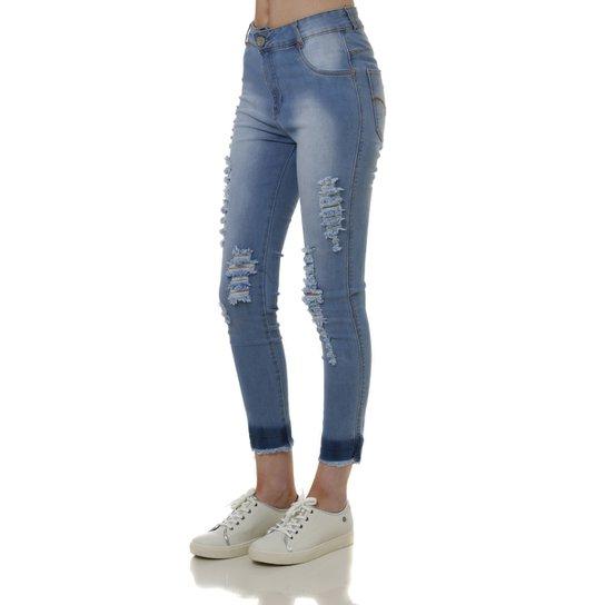 b6167a6f5 Calça Capri Jeans Feminina Bivik Azul - Compre Agora