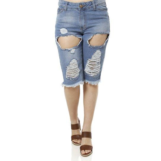 Bermuda Jeans Vesty Brasil Feminina - Azul - Compre Agora  2e03b66d976