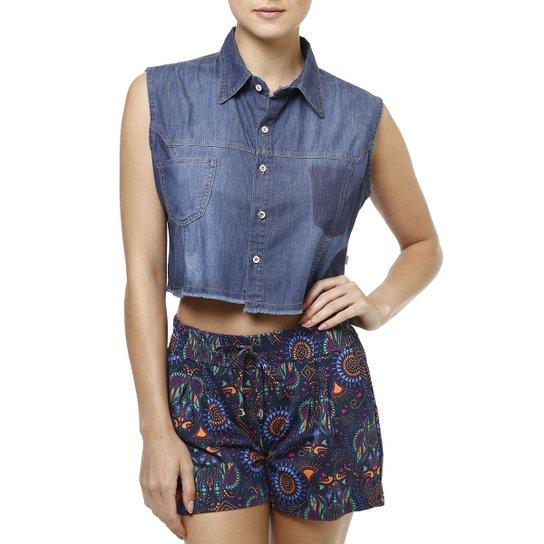 df4625303c520 Camisa Regata Jeans Feminina Azul - Azul - Compre Agora   Zattini