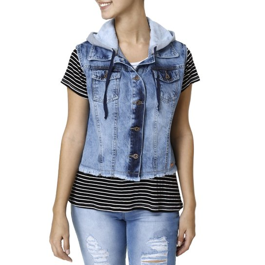 Colete Jeans Capuz Feminino Vizzy - Compre Agora  cf9184eb89081