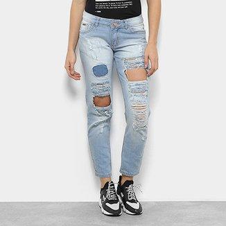 Calça Jeans Reta Destroyed Zamany Cintura Média Feminina 1aa1a86215f