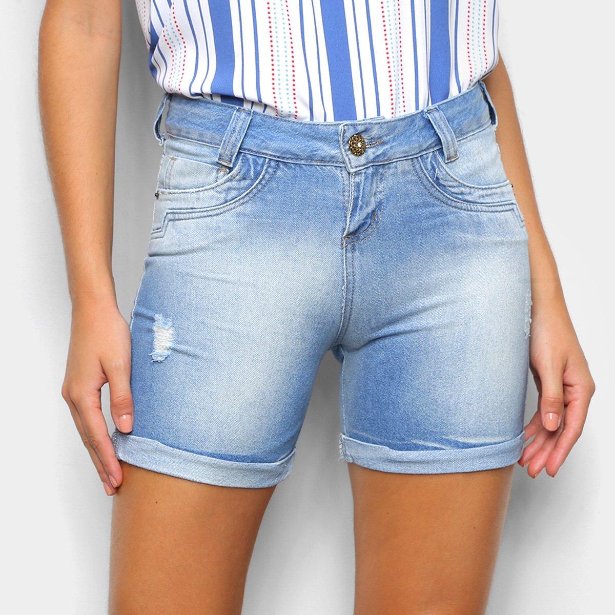Shorts Jeans Zamany Claro Barra Virada Feminino